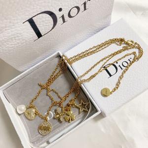 2020 LIEBEN Dual-Kreis-Anhänger Rose Gold-Silber-Farben-Halskette für Frauen-Weinlese-Kragen-Modeschmuck mit Original-Box-Set z00005