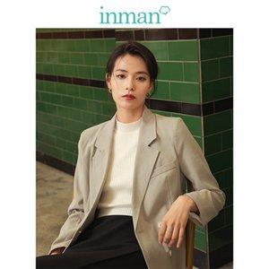 INMAN 2019 nuovo arrivo di autunno gira giù Letterario minimalismo elegante Tutti Matched Khaki Donne Giacca