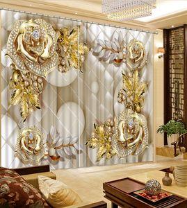 Rideaux pour fenêtre épais fleurs bijoux de luxe Ombrage 3D rideau Parlor chambre Chambre Blackout rideaux 3D