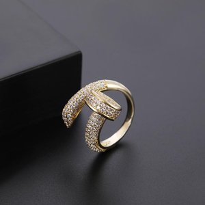 New fashion gold-plated ring personality alternative design nail micro-inlaid zircon opening ring man woman ring jewelry come with box