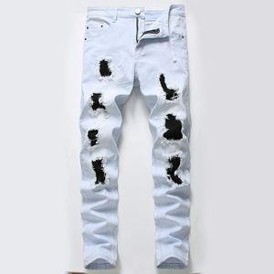 MORUANCLE Hi Via Distrutta jeans con toppe Mens Stretch denim strappati Pantaloni Pantaloni Fori Distressed Torn Jeans Size 28-42