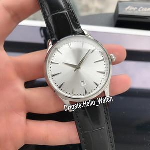 Nuevo Control Maestro Fecha Fecha ultra delgado Q1288420 Plata Dial para hombre Reloj automático 1288420 caja de acero correa de cuero Relojes Hello_Watch