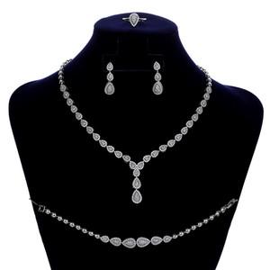 Conjuntos de Jóias HADIYANA simples Waterdrop Temperamento Mulheres Wedding Brincos Colar Anel e pulseira Set CN150 Conjunto de joyas