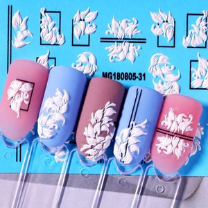 Nail Sticker 5D Flower Totem Embossed Nail Sticker Slice Transfer Beautiful Decals Decoration Art Accessories DIY Design