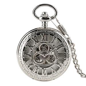 Gümüş Hollow Dişli Kapak El Sarma Mekanik Pocket Watch Ile 30 cm Zincir Romen Rakamları İskelet Dial Erkekler Saat hediyeler