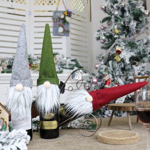 Cubre la botella de vino de Navidad Decoración de Santa Claus botella de vino cubierta de regalos Saco de Santa mantenga botella Bolsa de Navidad rústica de la arpillera