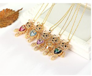 DHL Crystal love heart Gold plated jewelry long bear necklace for women vintage luxury Crystal sweater chain Korean long necklace 74+5cm