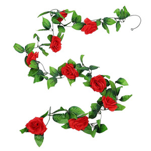 Artificial Flowers Rose Fake Flower silk Roses Vine plastic Plants fake flower for wedding party home Garland decor rose