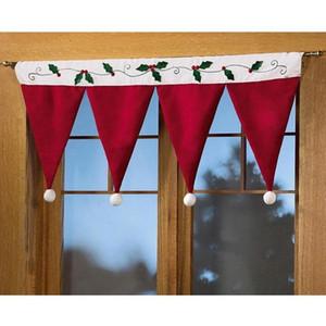 1pcs Janela chapéus de Papai Noel janela Valance Natal Casa Decorações Xmas cortina decor Ornaments Red Valance