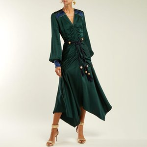 2018 Winter Sexy V Neck Green Women Long Dress Runway Designer Ruffles Lace up Ladies Christmas Party Irregular Dresses Clothing