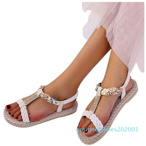 Crystal T-type Printed Sandal for woman flower Elastic Band Peep Toe Flat With Sandals Shoes Woman Zapatos De Mujer 2020