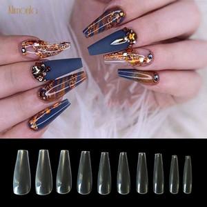 500pcs 10 Tamaños largo ataúd estilete uñas transparente de la cubierta completa Falso puntas de las uñas Uñas ABS falso Ballet Nuevo Diseño