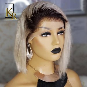 T1B 60 Ombre Wigs Glueless 13x4 Lace Front Short Bob Wigs Straight Brazilian Human 130% Remy Low Ratio Bleached Hair VS BOB