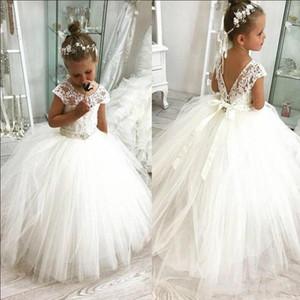 2020 Белый Прекрасный Симпатичные девушки цветка платья Винтажная Принцесса аппликация дочь малышей Довольно Дети Формальные Первое причастие мантий