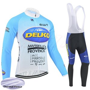 Delko team Cycling Winter Thermal Fleece jersey bib pants sets 2020 long sleeve Pro Racing Suit winter cycling C624-8