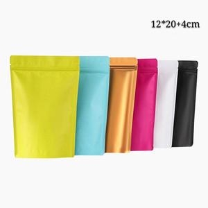 12 * 20 + 4 centímetros Recloseable folha de alumínio Stand Up Mylar Zip fechamento da embalagem Sacos Matte frutas secas armazenamento com rasgo Notch doces e café sacos