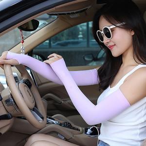 Frauen Solid Color Handschutz Anti-UV-Sleeves Sonnenschutz Arm Warmer Half Finger Lengthen Fingerschutzhüllen DH0703 T03