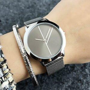 Mode Marque Femmes Hommes montre-bracelet de bande métallique en acier Lovers de C2140-3