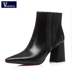 Vangull 2019 Autunno donne stivaletti in vera pelle a punta scarpe a punta tacco alto donne eleganti scarpe da donna nuovo