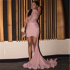Dusty Pink Prom Dresses Mermaid Stehkragen Asymmetrische Party Abendkleider Ärmellose Kurze Illusion Party Kleider