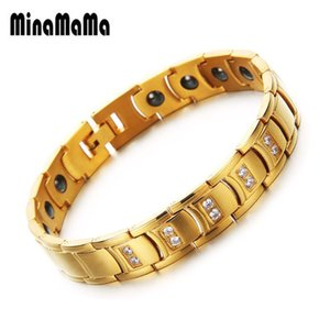 New Fashion Health Bracelet Crystal Stone Hematite Bracelets Gold color Stainless Steel Rhinestone Health Care Party Jewelry
