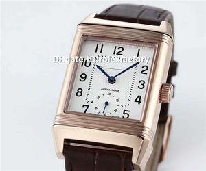Melhor Retângulo Rose Gold Clássico Grande Reverso Mens Watch Duoface Dial Swiss Automático de Safira Cristal de Couro Marrom Negócios relógio de Pulso