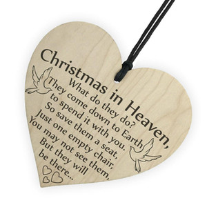 Christmas Ornaments for Tree Decoration Xmas In Heaven Wood Heart Plaque Sign Friendship Home Decoration Pendant