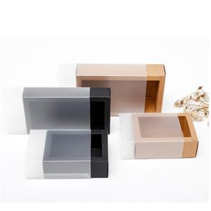 10 개 크래프트 종이 상자 젖빛 투명 커버 서랍 스타일 판지 상자 인형 포장 보석 선물
