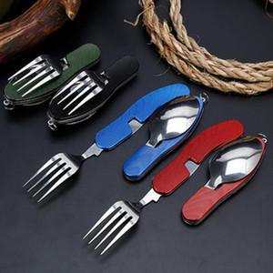 4 em 1 Outdoor Tableware (Fork / colher / faca / abridor de garrafas) Camping Aço Inoxidável Folding bolso Kits para Caminhadas Sobrevivência Viagem ZZA920