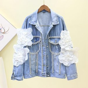 SexeMara fashion The New Loose Heavy work Beading Three-dimensional flower Rhinestone Denim jacket Free shipping