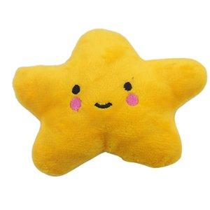 Pentagrama de oro amarillo nueva mascota de dibujos animados nube estrella felpa sonido juguete perro de peluche juguete cantando suministros para mascotas