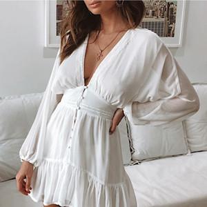 20s New Entwerfer-Frauen-reizvolle Kleider Mode S / F Frauen Solid Color mit tiefen V-Ausschnitt-Kleid-Qualitäts-Frauen Kurz Kleidung für Arbeit Größe S-XL
