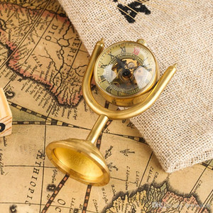 Trophy Design Hand-winding Movement Desktop Clock,Luxury Golden Cladding Material Rotating Table Pocket Watch for Men Women Friends