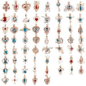 171 Disegni 18k Locket Cages Love Wish Perla / Perle gemma Oyster Pearl Necklace Mountings Pendenti fai da te Ciondolo in gabbia per perle MOQ 100 pezzi