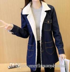Kadınlar Jean Uzun Kış Kalın Coats açın Aşağı Yaka Yün Kaşmir Slim Fit Ceket Coat