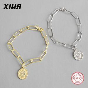 925 Sterling Silver Geometric elo da cadeia Figura Coin Pulseiras para Mulheres Designer de jóias de luxo charme Disc ajustável Bracelet