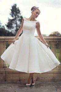 Vintage 50s Short Wedding Dresses Boat Neck Ankle Length A Line Retro Bridal Gowns New Custom Size vestido de noiva