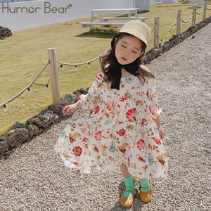 Floral Humor Girl's Bear New Chiffon Dress Summer Spring 2020 Baby Girl Dress Baby Girl Clothes Girls Dresses For Party Wedding