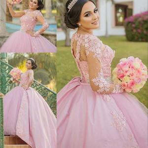 2020 새로운 핫 핑크 볼 가운 Quinceanera 드레스 긴 소매 레이스 Appliques 비즈 스위트 16 뚱뚱한 Overskirts 파티 미팅 상사 저녁 파티 가운