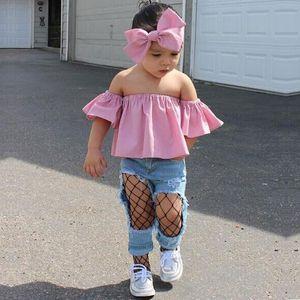 3pcs set Children's denim suit Girls' pink shoulder jacket + hole denim trousers + headdress Girls Kids Designer Clothes