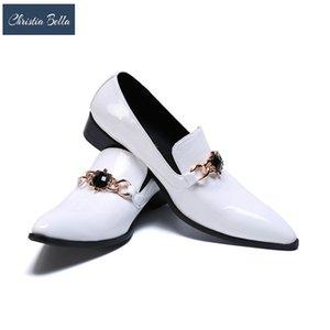 Christia Bella Erkekler Eğlence Gece Kulübü Stil Ayakkabı üzerinde Kayma Düşük Yardım Konfor Zapatos Hombre Vestir Forma Beyaz Düğün Ayakkabı erkekler