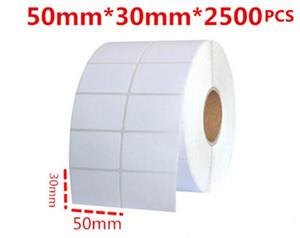 50 * 30mm 2500pcs / rouleau blanc blanc Bureau enduit de papier à barres à barres d'autocollant auto adhésif étiquette marquage logistique raccourci manuelle classement étiquette