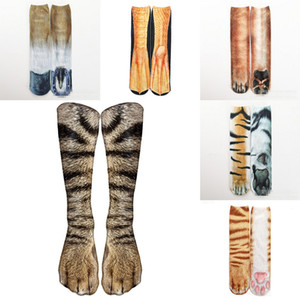 Imprimé Griffe animal Chaussettes 3D Femmes Hommes Hip Hop Bas Coton Hiphop Chaussettes Nouveau 24 couleurs