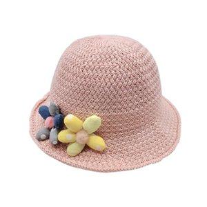 set Kind-Sommer Sonnenhut Bucket Cap Niedliche Blumen Strohhut beiläufige Strand-Kappen-Kind-Sommer Sun Bucket