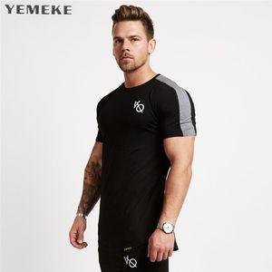 Yemeke Novos Homens de Manga Curta Camiseta de Algodão Raglan Manga Gyms de Fitness Vestuário de Treino Masculino Casual Marca de Moda Tees Tops Q190516