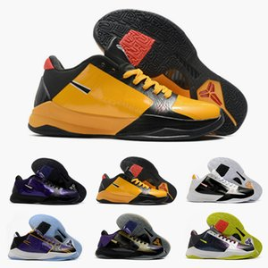 2020 Fashion Mens Zoom Mamba 5 V Protro Lakers 5s Basketball Shoes Purple Yellow Black Mamba Baskets Sports Trainers Sneakers