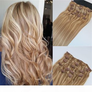 Human Hair Extensions Ombre Color Two Tone #18 Ash Blonde Piano #22 Medium Blonde Clip In Human Hair Extensions Highlights