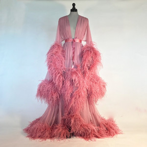 Pink Night Gown Ostrich Feather Bride Sleepwear Robes Newest Custom Made Long Sleeves Dressing Gown Women Sexy Pajamas Dresses