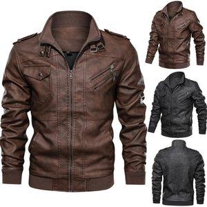 Retro Headless blusão Interchange Jacket Jacket Inverno Homens Big tamanho dos homens Collar Stand-up de couro do falso solto G3