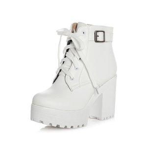 GOXPACER Autumn Martin botas Botas Mulheres Rodada Toe Buckle Shoes Mulheres High Heel Moda Plus Size Salto Praça Cordas 3 cores